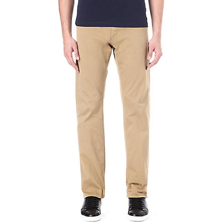 HUGO BOSS Regular-fit straight gabardine chinos (Tan