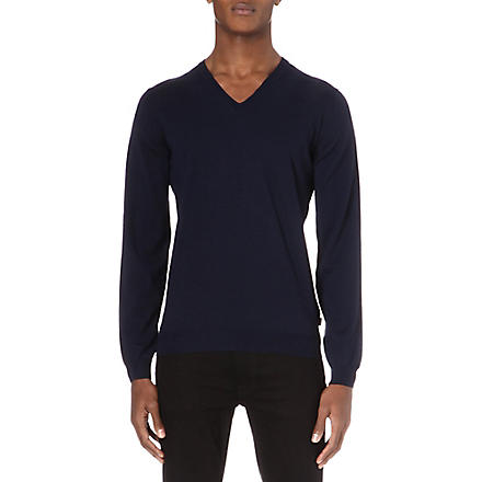 HUGO BOSS Merino v-neck jumper (Navy