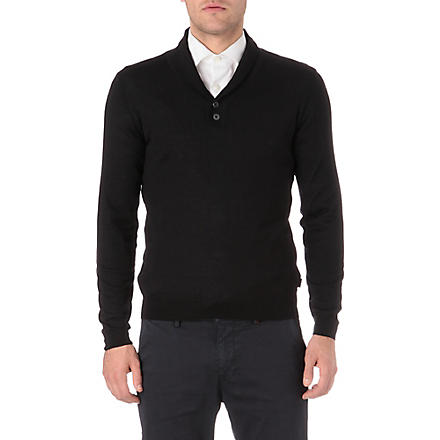 HUGO BOSS Shawl neck jumper (Black