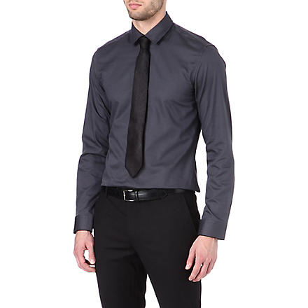 HUGO BOSS Slim-fit honeycomb shirt (Grey