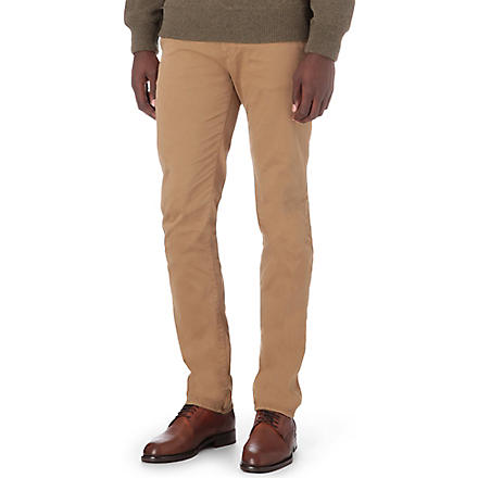HUGO BOSS Slim stretch-cotton trousers (Beige