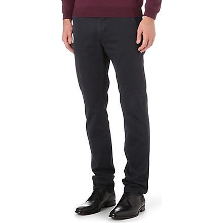 HUGO BOSS Slim stretch-cotton trousers (Navy