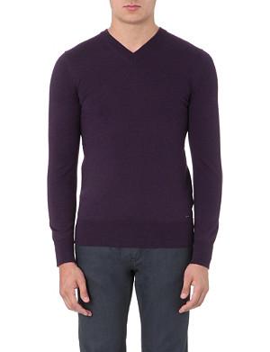 HUGO Sacaraslio v-neck merino wool jumper