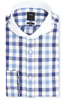 HUGO BOSS Sanders gingham check and contrast collar shirt