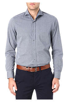 HUGO BOSS Chambray triangle-print shirt