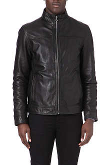 HUGO BOSS Stand collar leather jacket