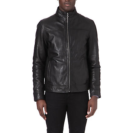 HUGO BOSS Stand collar leather jacket (Black
