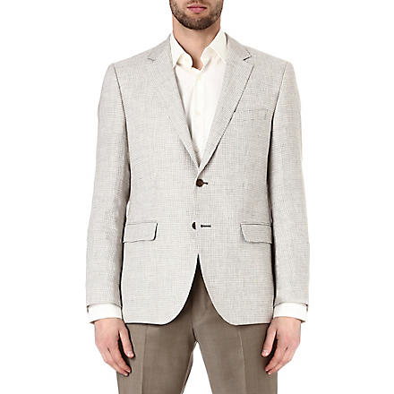 HUGO BOSS Smith puppytooth linen jacket (Beige