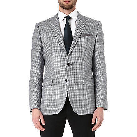 HUGO BOSS Smith dogtooth linen jacket (Grey