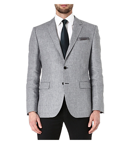 HUGO BOSS Smith dogtooth linen jacket (Grey