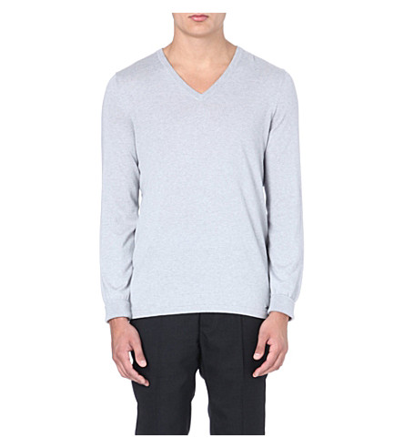 HUGO BOSS Sorinus silk and cashmere-blend jumper (Grey