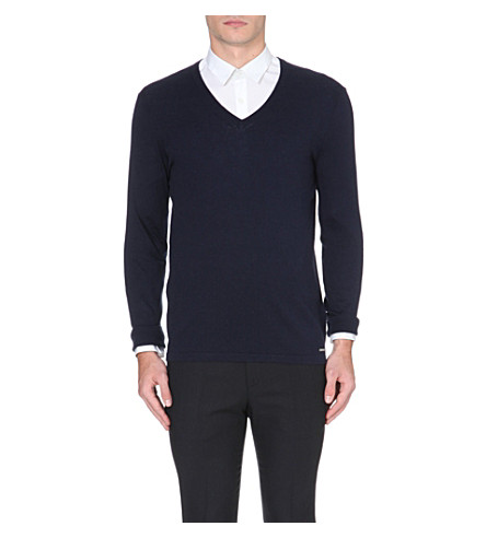 HUGO Sorinus silk and cashmere-blend jumper (Navy