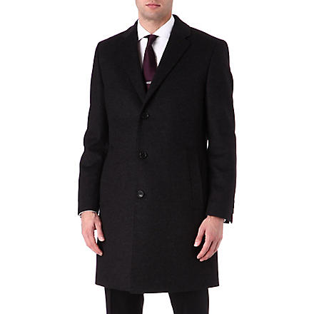 HUGO BOSS Wool and cashmere-blend Stratus overcoat (Charcoal
