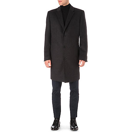 HUGO BOSS Wool and cashmere-blend Stratus overcoat (Black