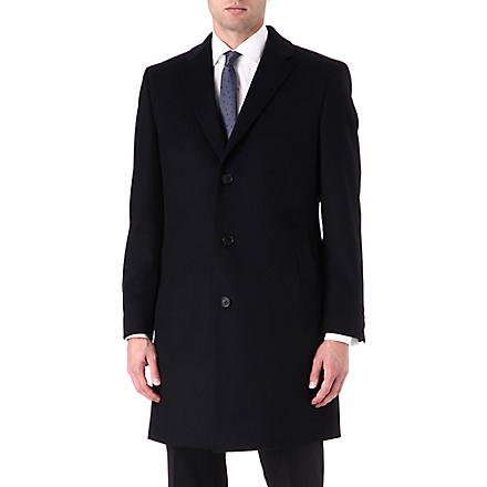 HUGO BOSS Wool and cashmere-blend Stratus overcoat (Navy
