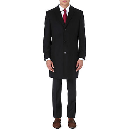 HUGO BOSS Stratus wool and cashmere-blend coat (Black