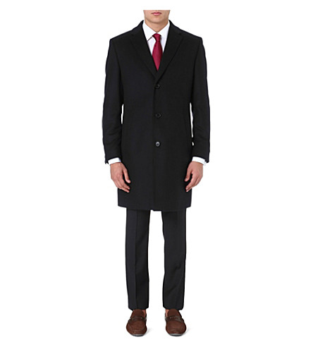 HUGO BOSS Stratus wool and cashmere-blend coat (Black
