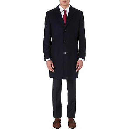 HUGO BOSS Stratus wool and cashmere-blend coat (Navy