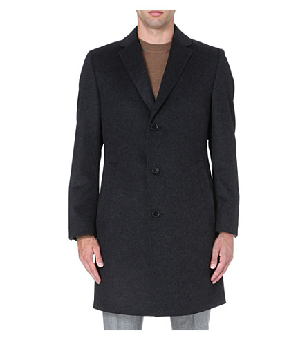 HUGO BOSS Stratus wool and cashmere-blend coat (Charcoal