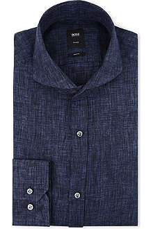HUGO BOSS Swain linen slim-fit single-cuff shirt