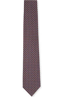 HUGO BOSS Mini-tile printed silk tie