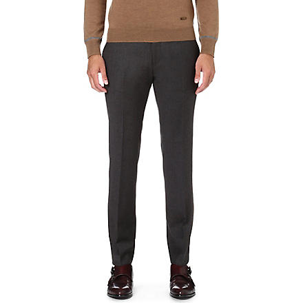 HUGO BOSS Wilhelm slim-fit wool trousers (Brown