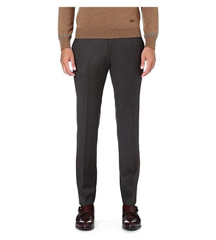 HUGO BOSS Wilhelm slim-fit wool trousers (Brown