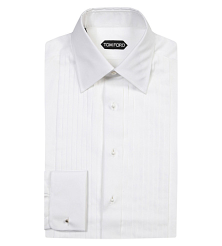 TOM FORD Classic-fit pleated evening cotton shirt (White