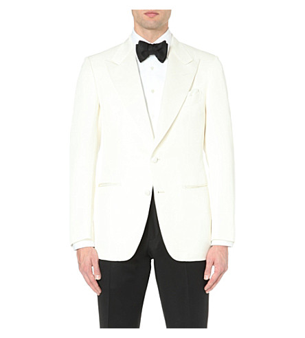 TOM FORD Peak-lapel silk-blend jacket (White