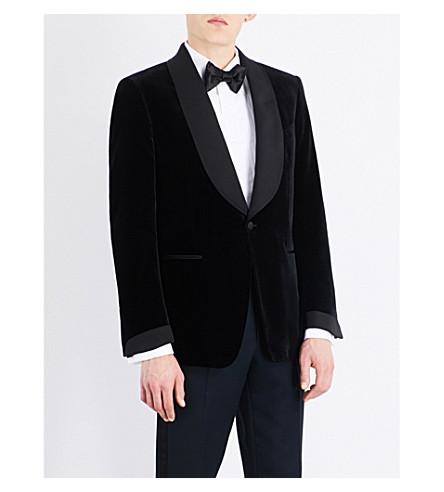 TOM FORD Single-breasted slim-fit velvet cotton jacket (Navy