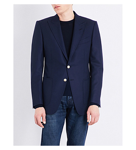 TOM FORD Hopsack woven slim-fit wool and mohair-blend jacket (Open+blue