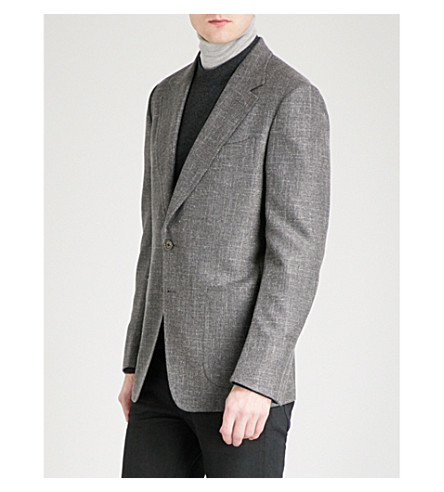 TOM FORD Shelton-fit hopsack-weave wool silk and linen-blend jacket (Grey