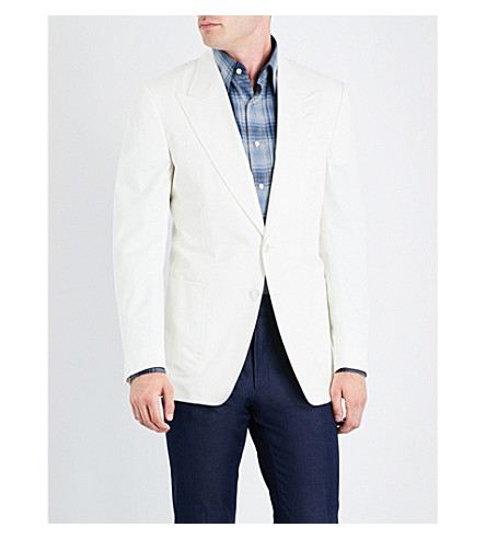 TOM FORD Slim-fit single-breasted cotton jacket (Ivory