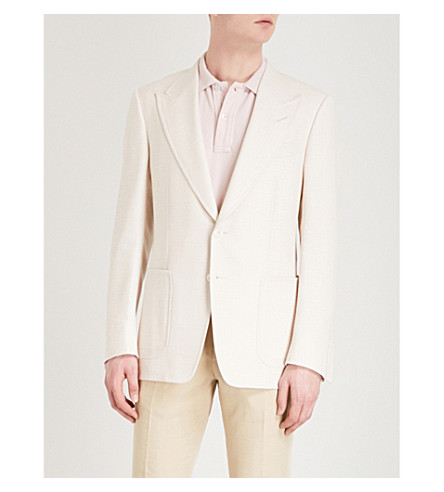 TOM FORD Shelton-fit wool, linen and mohair-blend jacket (Ivory
