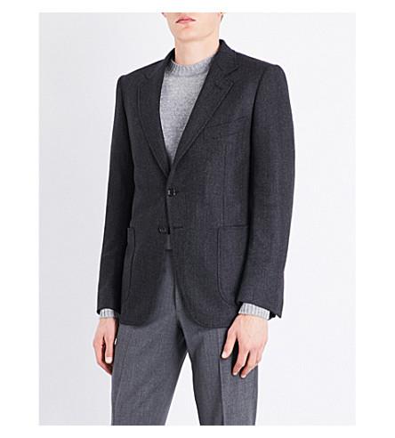 TOM FORD Herringbone slim-fit wool jacket (Charcoal