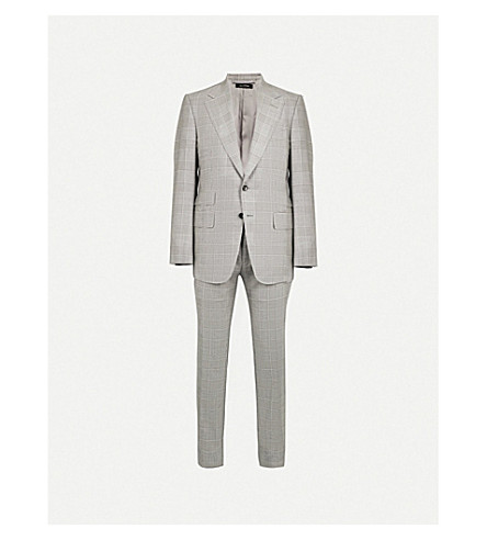 TOM FORD Checked shelton-fit wool suit (Grey