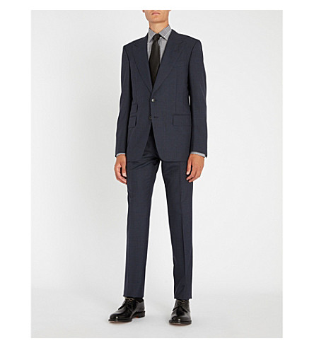 TOM FORD Checked Shelton wool suit (Navy