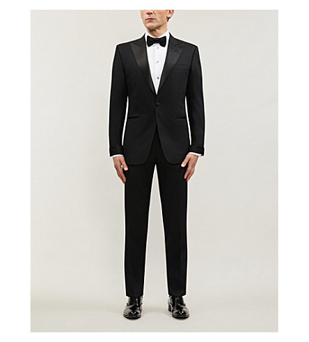 TOM FORD Satin-trim wool suit (Blk