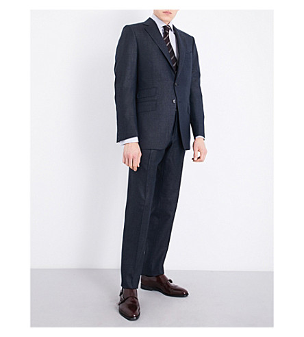 TOM FORD Micro dot-print slim-fit wool and silk-blend suit (Blue