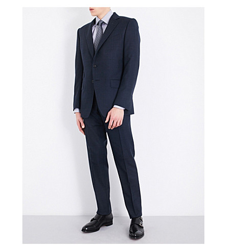 TOM FORD Windowpane check slim-fit wool suit (Navy