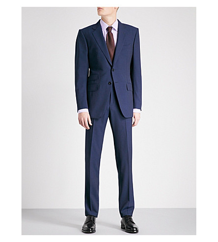 TOM FORD Super 110S Sharkskin O'Connor slim-fit wool suit (Blue