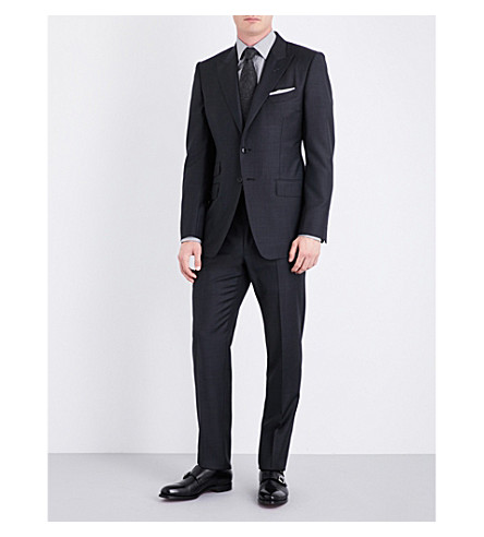 TOM FORD Regular-fit pindot wool suit (Charcoal