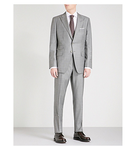 TOM FORD sharkskin classic-fit wool suit (Grey