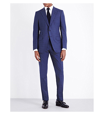 TOM FORD Windowpane check regular-fit wool suit (Blue