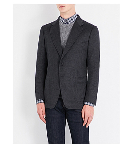 TOM FORD Single-breasted slim-fit cashmere jacket (Charcoal