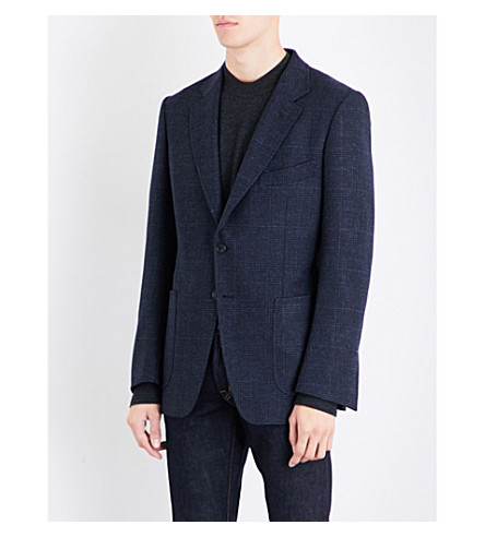 TOM FORD Houndstooth slim-fit wool and alpaca-blend jacket (Blue