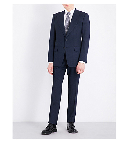 TOM FORD Speckled slim-fit wool and silk-blend suit (Navy