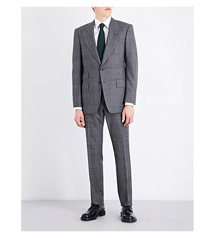TOM FORD Checked slim-fit wool suit (Grey