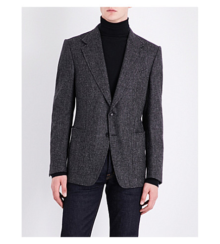 TOM FORD Shelton hopsack regular-fit wool jacket (Charcoal