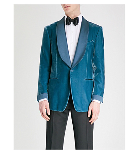 TOM FORD Shelton-fit velvet jacket (Turquoise